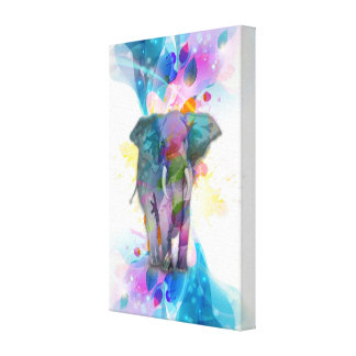 cute colourful watercolours splatters elephant stretched canvas print