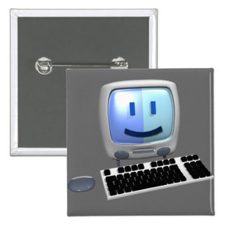 Cute computer smiley face. 15 cm square badge