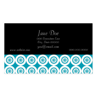 Cute Concentric Circles Pattern Aqua White Business Card Templates