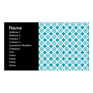 Cute Concentric Circles Pattern Aqua White Business Cards