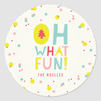 Cute Confetti Oh What Fun Colorful Holiday Sticker