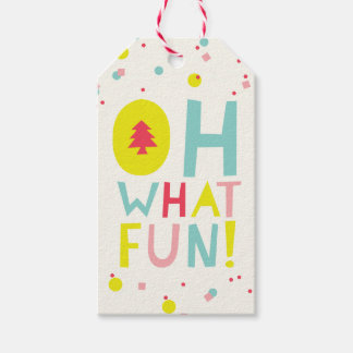 Cute Confetti Oh What Fun Dots Holiday Gift Tag
