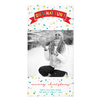 Cute Confetti Oh What Fun Dots Holiday Photo Card