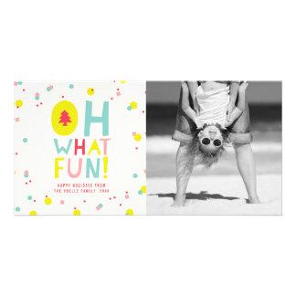 Cute Confetti Oh What Fun Dots Holiday Photo Card