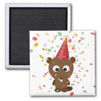 Cute Confetti Party Beaver Square Magnet