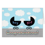 Cute Congratulations Twins Boy and Girl Greeting Card