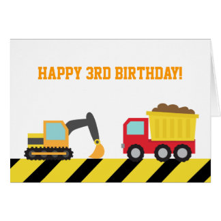 Cute Construction Vehicles for Birthday Boy Greeting Card