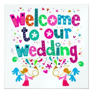 Cute Contemporary Wedding 13 Cm X 13 Cm Square Invitation Card