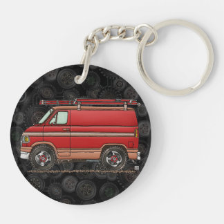 Cute Contractor Van Double-Sided Round Acrylic Key Ring