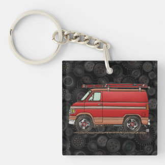 Cute Contractor Van Single-Sided Square Acrylic Key Ring