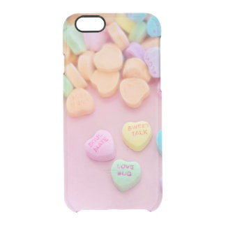 Cute conversation heart hearts candy pastel foodie clear iPhone 6/6S case