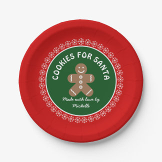 Cute cookies for Santa plates with gingerbread man 7 Inch Paper Plate