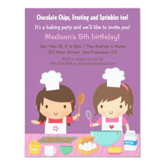 Cute Cooking Baking Birthday Party Invitations