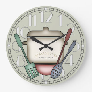 Cute Cooking Pot And Kitchen Utensils Custom Large Clock
