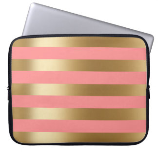 Cute Coral and Gold Stripe Laptop Sleeve