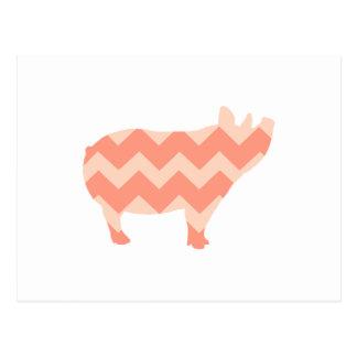 Cute Coral Chevron Pig Postcard