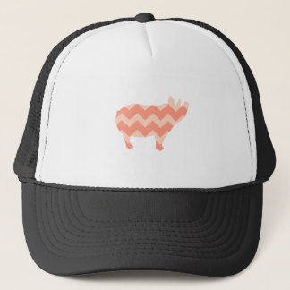 Cute Coral Chevron Pig Trucker Hat