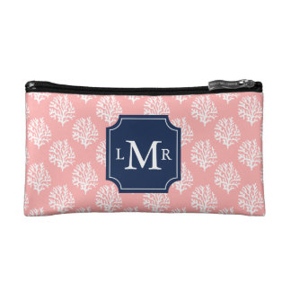Cute Coral Pattern and Blue Monogram Cosmetic Bags