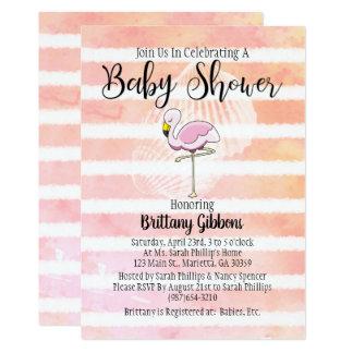Cute Coral Peach Striped Flamingo Baby Shower Card