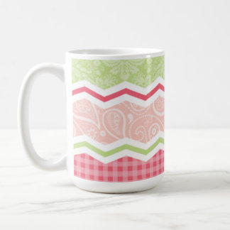 Cute Coral Pink and Light Green Patterns Coffee Mugs