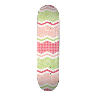 Cute Coral Pink and Light Green Patterns Skate Deck