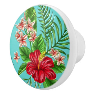 Cute Coral Tropical Hibiscus Flower On Turquoise Ceramic Knob