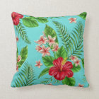 Cute Coral Tropical Hibiscus Flower On Turquoise Cushion
