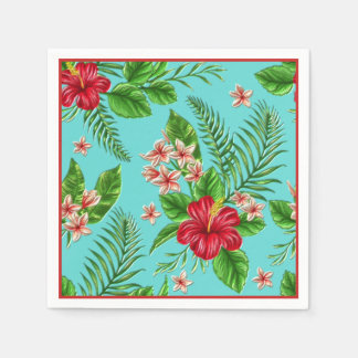 Cute Coral Tropical Hibiscus Flower On Turquoise Disposable Serviette