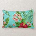 Cute Coral Tropical Hibiscus Flower On Turquoise Lumbar Cushion