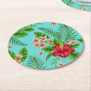 Cute Coral Tropical Hibiscus Flower On Turquoise Round Paper Coaster