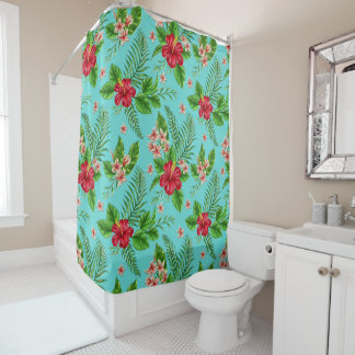 Cute Coral Tropical Hibiscus Flower On Turquoise Shower Curtain