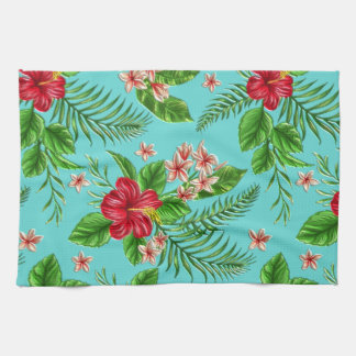 Cute Coral Tropical Hibiscus Flower On Turquoise Tea Towel