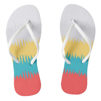 CUTE Coral Turquoise Yellow White Stripes Thongs