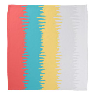 CUTE Coral Turquoise Yellow White Zigzag Stripes Bandana