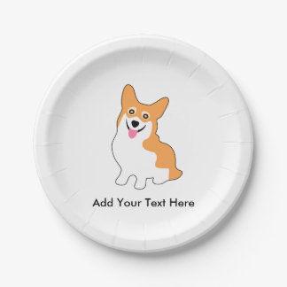 Cute Corgi Drawing - Add Your Own Text 7 Inch Paper Plate