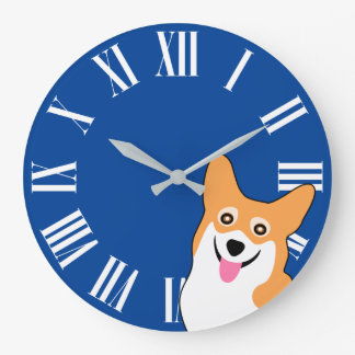 Cute Corgi Wake Up Call Time for a Walk Large Clock