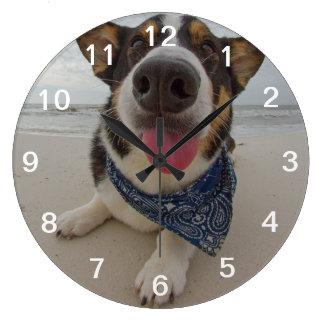 Cute Corgi with Tongue Out Large Clock