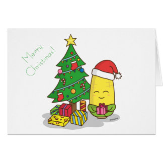 Cute Corn Christmas Tree Decorations Card