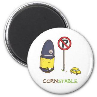 Cute Corn Constable Traffic Police Amusing Pun Magnet