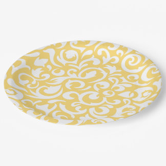 Cute Corn Yellow White Damask Floral Pattern Paper Plate