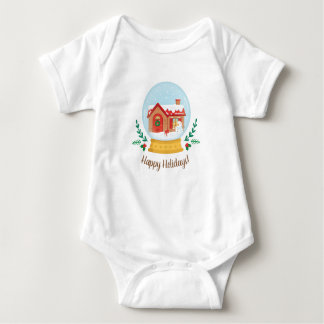 Cute Cottage and Snowman Christmas Snow Globe Tee