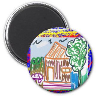 CUTE COTTAGE HOME : KIDS ART 6 CM ROUND MAGNET