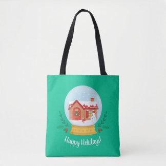 Cute Cottage Snowman Christmas Snow Globe Tote Bag