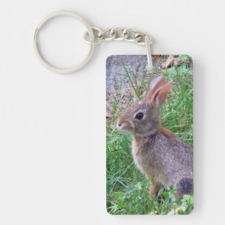 Cute Cottontail Bunny Rabbit Double-Sided Rectangular Acrylic Key Ring