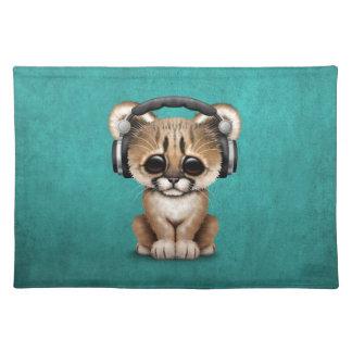 Cute Cougar Cub Dj Wearing Headphones on Blue Place Mat