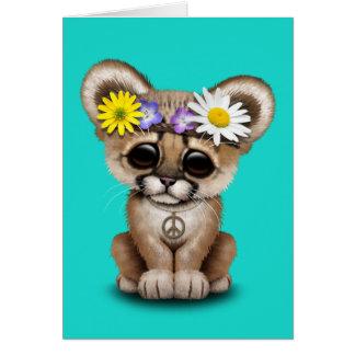 Cute Cougar Cub Hippie Card