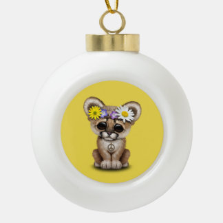 Cute Cougar Cub Hippie Ceramic Ball Christmas Ornament