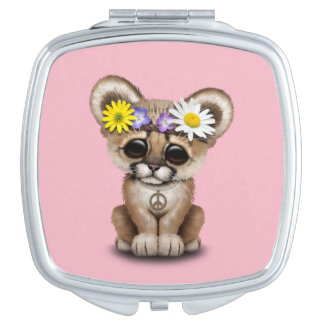 Cute Cougar Cub Hippie Compact Mirrors