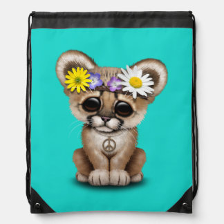Cute Cougar Cub Hippie Drawstring Bag