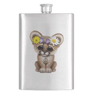 Cute Cougar Cub Hippie Hip Flask